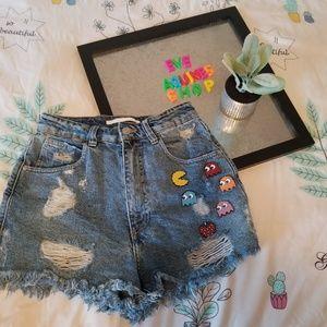 Zara Pacman High Waisted Denim Shorts